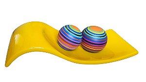 Centro de Mesa Amarelo Esferas Cerâmica Coloridas