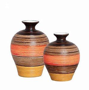 Par de Vasos em Cerâmica Colorido