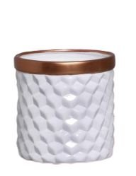 Vaso Geométrico Base Larga Branco e Bronze G