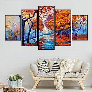 Conjunto Quadros Mosaico Árvores Paisagem