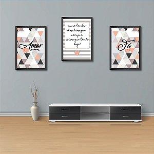 Kit Conjunto 3 Quadros Decorativos Amor, Eu Me Lembro dos Dias Que Orei Por Coisas que Tenho Hoje, Fé