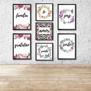 Kit Conjunto 7 Quadros Decorativos Familia, Amor, Sorte 4 20 x 30Cm 3 20X20Cm