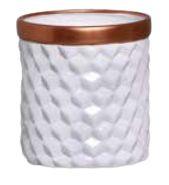 Vaso Geométrico Branco e Bronze P