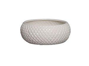 Cachepot de Cerâmica Creme Claro Boca Larga P 10x25,5 cm