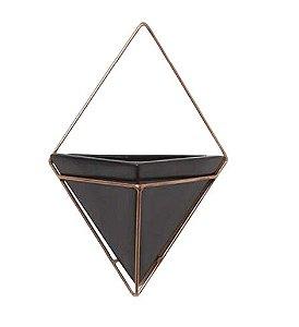 Vaso Preto Triangular - Linha Vasos de Parede