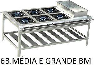 FOGÃO INDUSTRIAL INOX 6 QUEIMADOR DUPLO MÉDIO E GRANDE VÁRIOS MODELOS