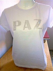 Camiseta Feminina Strass - PAZ