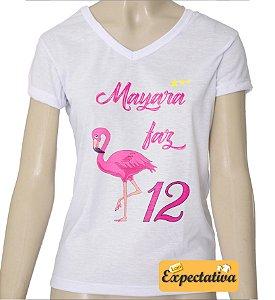 Camiseta Personalizada de Aniversário Flamingo - 01