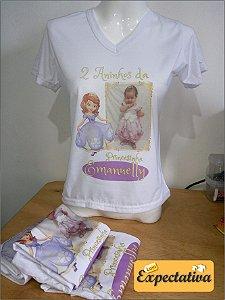 Camiseta Personalizada de Aniversário Princesinha Sofia - 01