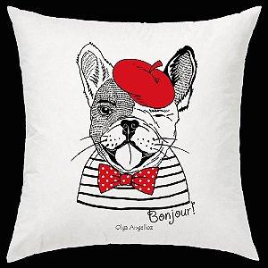 Almofada Bulldog Francês da artista Olga Angelloz