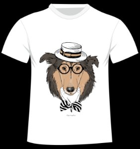 Camiseta Collie da artista Olga Angelloz
