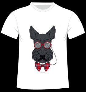 Camiseta Scottish Terrier da artista Olga Angelloz