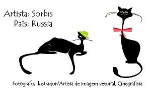 Gatos minimalistas do artista russo Sorbis