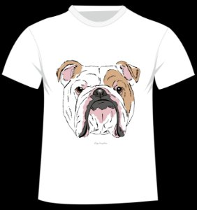 Camiseta Bulldog Inglês da artista Olga Angelloz