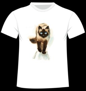Camiseta Gato Siamês em aquarela