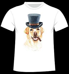 Camiseta Labrador de chapéu e charuto