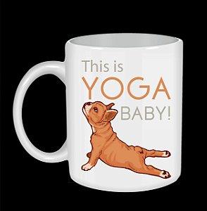 Caneca de cerâmica 11Oz Cachorro fazendo yoga