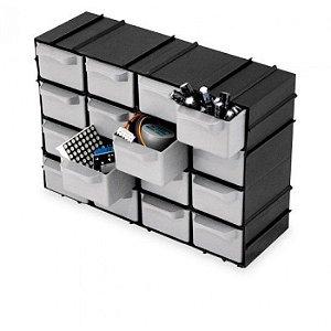 Caixa Gaveteiro Plástico Organizador Multiuso Com 16 Gavetas Modular