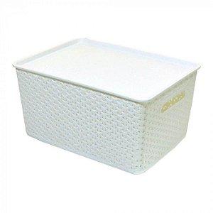 Caixa Organizadora Rattan 15 litros Plástico Empilhável - Branco