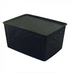 Caixa Organizadora Rattan 15 litros Plástico Empilhável - Preta