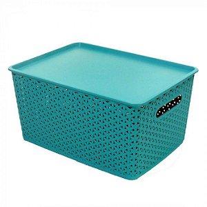 Caixa Organizadora Rattan 15 litros Plástico Empilhável - Verde