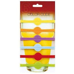 Conjunto de 6 Marcadores de Silicone Coloridos para Copos