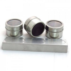 Porta Temperos Magnético Inox com Base e 3 Porta Condimentos