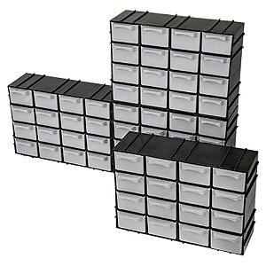 4 Caixa Gaveteiro Plástico Organizador Multiuso C/16 Gavetas