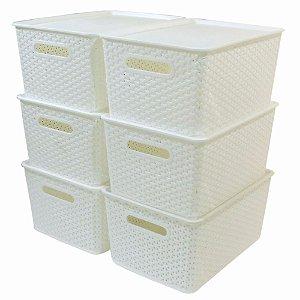 Kit 6 Caixas Organizadoras Rattan Empilhável Grande Branca
