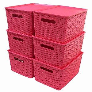 Kit 6 Caixas Organizadoras Rattan Empilhável Grande Rosa