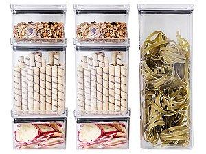Kit 10 Potes P/ Alimentos Herméticos Quadrados Empilháveis