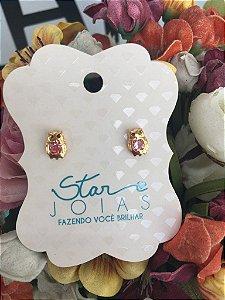 Brinco pequeno de Coruja com pedra Rosa em dourado