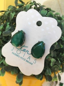 Brinco Gota de Pedra Verde