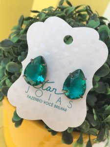 Brinco Gota de Pedra Verde Claro