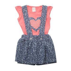 Conjunto Jardineira Blusa Cotton Coral com Shorts Saia de Tricoline Jeans
