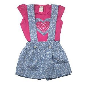 Conjunto Jardineira Blusa Cotton Pink com Shorts Saia de Tricoline Jeans