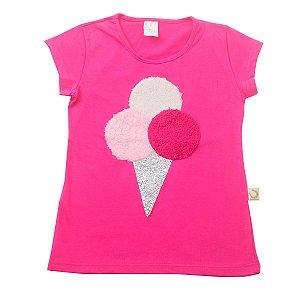 Blusa de Malha Pink com Aplique de Sorvete