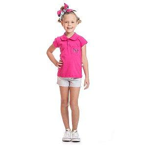 Blusa Polo de Malha Pink