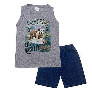 Conjunto Regata de Malha Mescla com Bermuda Moletinho Jeans
