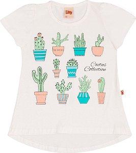 Blusa Cactus Cream Estampa Efeito Glitter