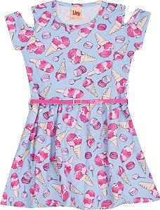 Vestido Azul Meia Malha Estampada Sorvete com Cintinho