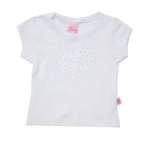Blusa de Cotton Leve na Cor Branca com Aplique de Strass