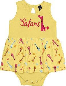 Body Vestido Bebê Girafa Amarelo