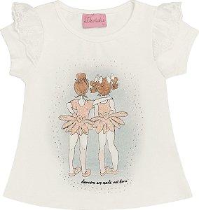 Blusa Off White Estampa Bailarinas