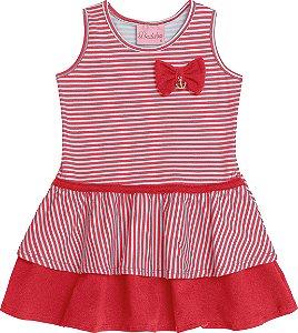 Vestido Bebê Vermelho Listrado