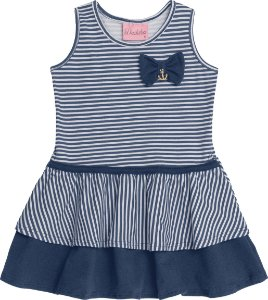 Vestido Bebê Azul Listrado