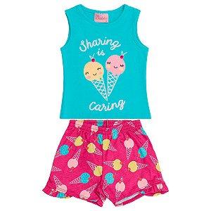 Conjunto Bebê Regata Azul Shorts Sorvete Rosa