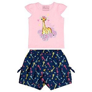 Conjunto Bebê Regata Girafa Rosa Bermuda Azul