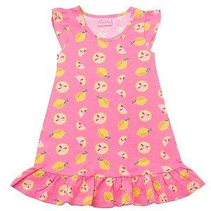 Vestido Regata Rosa com Estampa de Limão