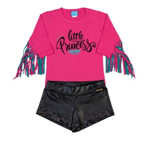 Conjunto Princess Pink com Franja e Shorts Cirré Preta